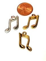 Music Note Fine Pewter Charm Pendant - 2mm L x 20mm W x 15mm D image 2