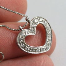 SOLID 18K WHITE GOLD NECKLACE WITH HEART DIAMONDS, DIAMOND MADE IN ITALY image 6