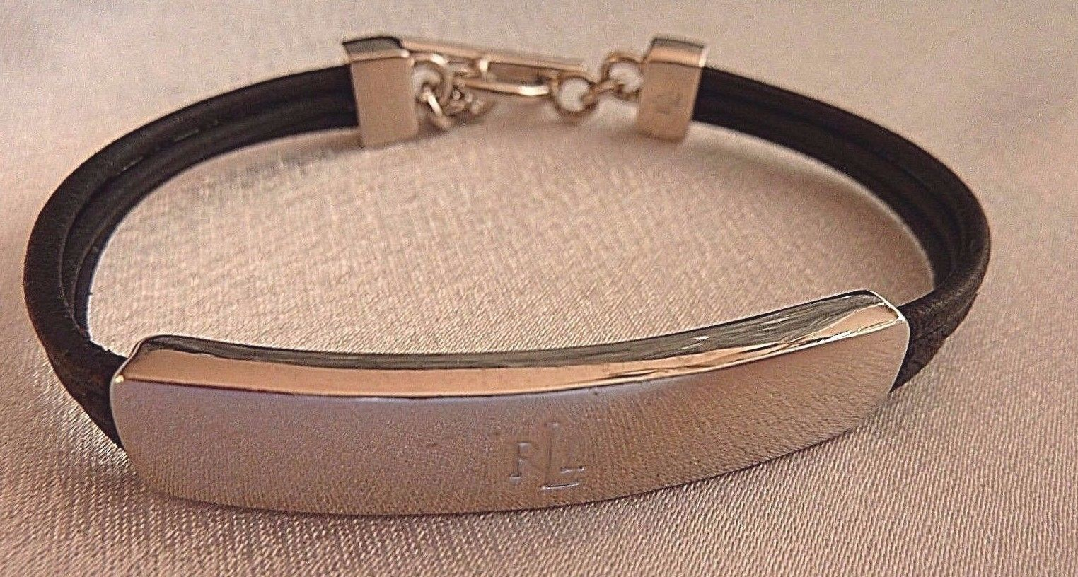 Primary image for Ralph Lauren Polo Silver Tone Metal Black Leather Cord Bracelet Signed 7""