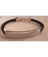 "Ralph Lauren Polo Silver Tone Metal Black Leather Cord Bracelet Signed 7"" - $29.35"