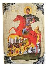 Wooden Greek Christian Orthodox Wood Icon of Saint Dimitrios Demetrius Demetrios - $69.20
