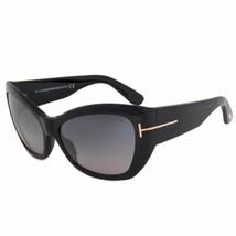 Tom Ford Corinne Cat Eye Sunglasses FT0460 01C 58 Black Frames Blue Gradient - $147.70