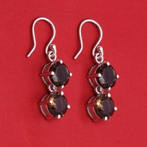 8 MM Round Smoky Quartz Gemstone 925 Sterling Silver Drop/Dangle Wedding... - $26.76