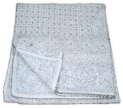 Indian Handmade Kantha Quilt Queen Bedspread Throw Cotton Blanket Embroi... - £61.77 GBP