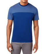 NEW MENS ALFANI SHORT SLEEVE PATTERN BLOCKED PRINT BLUE T SHIRT TEE XXL - $9.89
