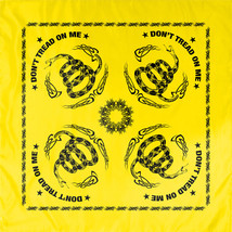 "Yellow Don't Tread On Me Flag Cotton Biker Skull Bandana (22"" x 22"") - $7.99"