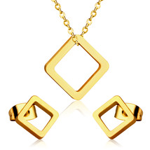 LUXUSTEE Geometry Jewelry Sets Stainless Steel Gold/Silver Pendant Neckl... - $12.85