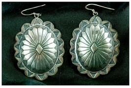 .925 Sterling Silver Earrings Southwest Design Vtg g25 - $49.49
