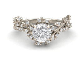 Certified 2.70Ct Round White Diamond Nature Leaf Engagement Ring 14K Whi... - $256.71