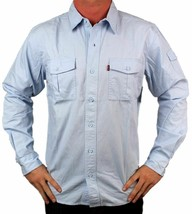 NEW LEVI'S MEN'S COTTON CLASSIC REGULAR FIT BUTTON UP SHIRT SKY BLUE-057CC XL