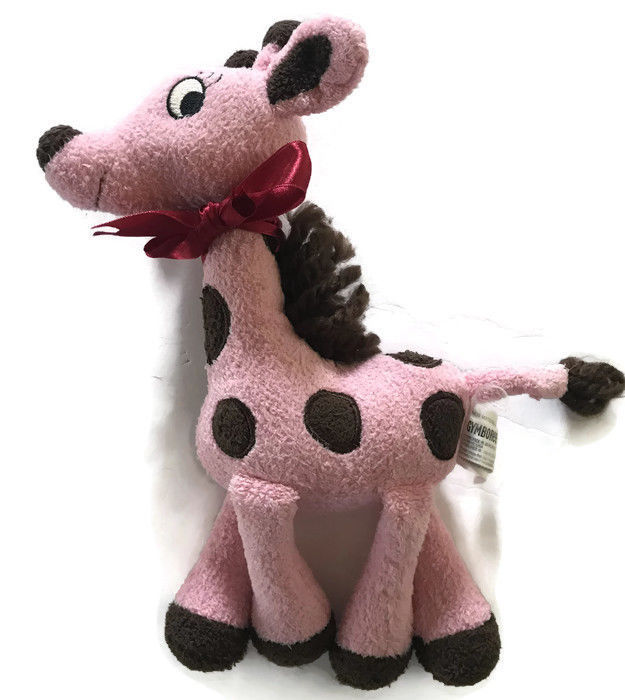 Primary image for Gymboree Giraffe Club Plush Toy Polka Dot Pink Brown Red Bow Lovey Stuffed