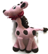 Gymboree Giraffe Club Plush Toy Polka Dot Pink Brown Red Bow Lovey Stuffed - $24.00
