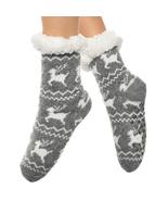 Urban-Peacock Knitted Fleece Sherpa Lined Slipper Socks-Marled Reindeer-... - $10.95