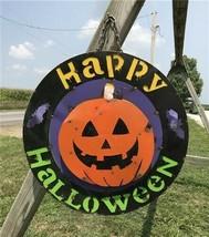 Metal Happy Halloween Sign, Halloween Home Decor, Fall Autumn Pumpkin Si... - $99.00