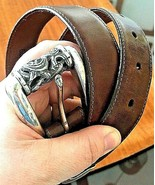 """BRIGHTON Beown LEATHER BELT Silver BUCKLE Women's Size Small/33"""" - $19.75"""