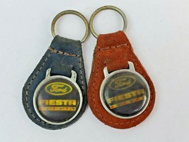 Lot of 2 Vintage Ford Fiesta Logo Leather Keychain KeyRing FOB Tab - $18.69