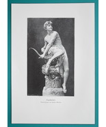 NUDE Sculpture of Young Man Drawing Bow & Arrow - VICTORIAN Era Print - $16.20