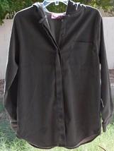 Denim & Co Jeans Wear POLY/SPANDEX Long Sleeve Gray Layer Hoodie Shirt Sz Medium - $12.99