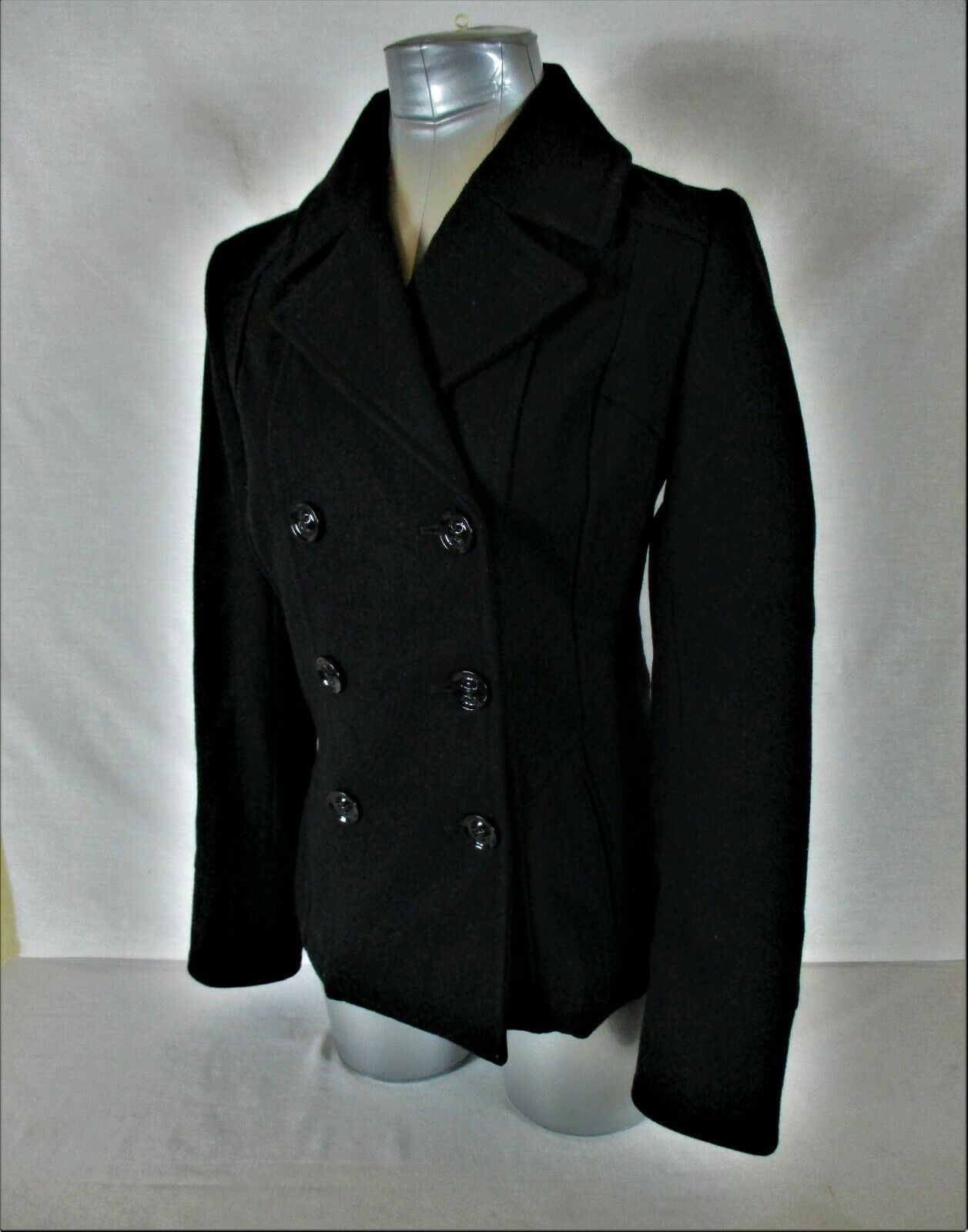 GUESS womens Small L/S black WOOL BLEND button down FULLY LINED jacket (X)P