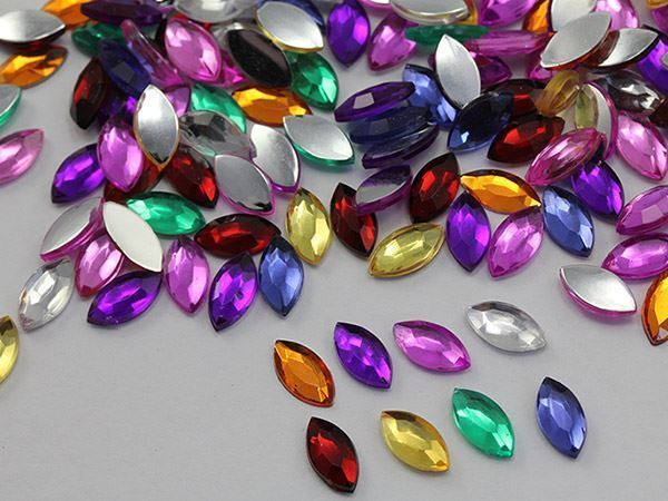 10x5mm Gold Honey JG38 Flat Back Navette Acrylic Gems For Crafts - 75 PCS