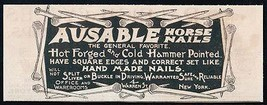 Ausable Horse Nails hot forged cold hammer 1893 NY Hardware Building Sup... - $14.99