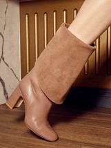 $798 - Stuart Weitzman Lucinda Tall Fold Over Taupe Leather Boots Size 6 - $791.00