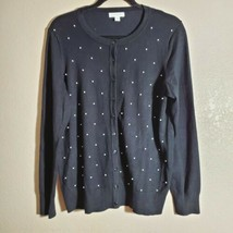 Charter Club Women's Plus Sz 0X XL Button Front Cardigan Sweater Deep Black - $9.49