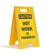 "SmartSign ""Caution - Hot Work In Progress"" Folding Floor Sign | 25"" x 12... - $44.04"