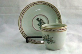 Vista Alegre Pink Floral And Laurel Demitasse  Cup And Saucer Set - $13.49