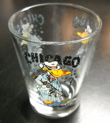 Chicago Everybody Duck Shot Glass Clear Glass with Colorful Gangster Duck