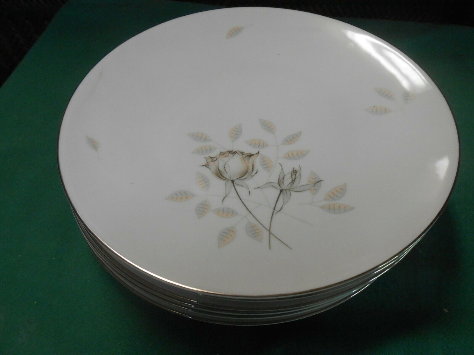 Primary image for  Magnificent ROSENTHAL Germany PEACH BROWN-GRAY ROSE ...Set of 6 DINNER Plates