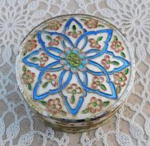 Vintage Asian Chinese Cloisonné Enamel Powder Jar Box Cobalt Blue Peking... - $85.00