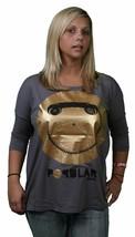 Bench UK Popular B Top Gray Gold Smiley Face Raglan Style Cotton Blend T-Shirt