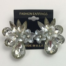 Vintage Floral Rhinestone Statement Earrings Flower Clear Pierced Chunky... - $10.25