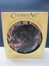 CounterArt Black Labrador Retriever - Round Coaster Gift Set With Wood Holder  - $10.99