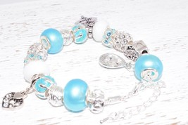 Silver Charm Bracelet with European Beads Pearl Blue Love Hearts Mom Wife  - $37.40