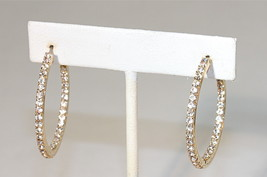"eli k GOLD PLATE & CLEAR CRYSTALS INSIDE/OUT SMALL 1 1/3"" HOOP EARRINGS - $14.39"