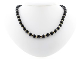 Classic Monet Signed 5mm Black Beaded Necklace - $8.59