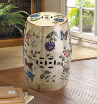 Ceramic Stool, Side Table, Plant Stand Butterfly, Flowers Vintage Glazed Finish  - $92.95