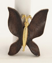 VINTAGE Jewelry MOD EAMES ERA WOOD FIGURAL BUTTERFLY BROOCH - $10.00