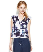VINCE CAMUTO Navy & White Printed Button-Front Blouse ( LARGE ) NWT $99.00 - $15.79