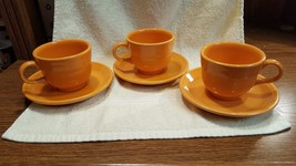 VINTAGE Orange FIESTA Homer Laughlin Fiestaware Tea Cup & Saucer Set - $9.90