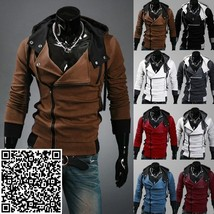 Fashion Mens Slim Fit Irregular Zip Up Hoodies Jackets Coats Multicolor,Male Cas - $61.20