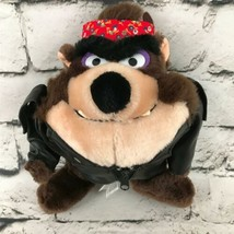 Loonie Toons Tasmanian Devil Biker Plush Faux Leather Jacket Bandanna Stuffed - $14.84