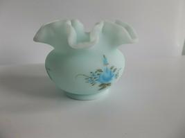 Vintage Fenton Satin Blue Roses Glass Vase Ruffled Amy Sallee - $14.99