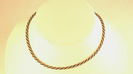 Trifari Black and Gold Tone Twisted Chain Vintage Necklace - $17.99