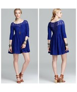 Free People Small S Mosaic Blue Shake It Up Illusion Lace A-Line Dress R... - $34.64