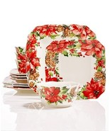 222 Fifth Winter Poinsettia 12 Pc. Dinnerware Set - $138.58