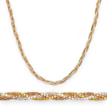 Multi Link Chain Rope Necklace 14k Yellow Rose Gold 925 Sterling Silver ... - $45.83+