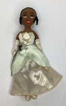 "Disney Store Princess & the Frog Tiana Plush abt 13"" Tall Green Cream Dress - $12.82"